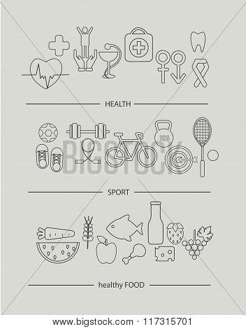 Modern thin line icons set of health lifestyle