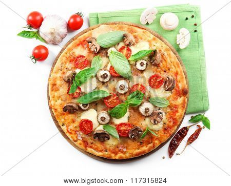Delicious pizza and fresh vegetables on white background, close up