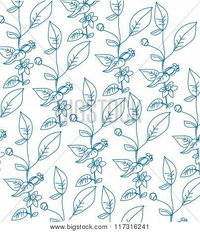 background with a pattern of sprigs of flowers