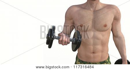 Man Exercising with Dumbbells as Fitness Concept