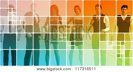 Social Networking People as a Abstract Concept Art