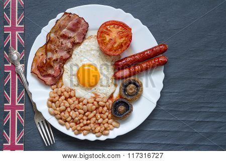 English breakfast on the black marble