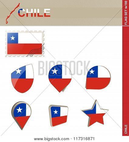 Chile Flag Set, Flag Set #100