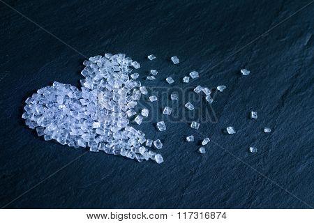 Abstract sugar crystals heart shape