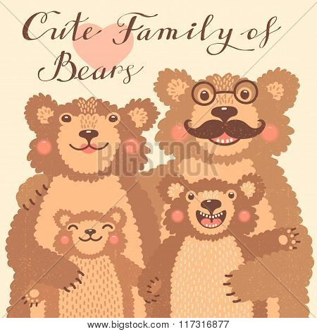 Cute card with a family of brown bears. Dad hugs mother and children.
