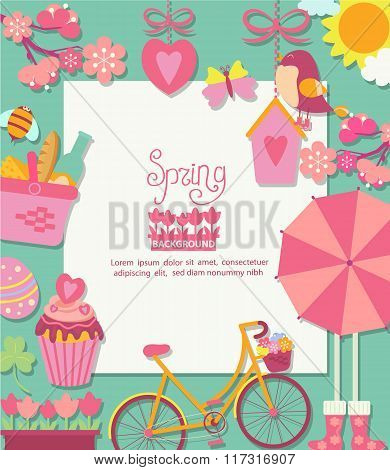 Spring background with cuteicons and frame