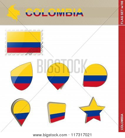 Colombia Flag Set, Flag Set #106