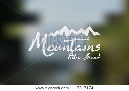 Hand drawn wilderness old style typography poster with retro mountains Letterpress Print Rubber Stam