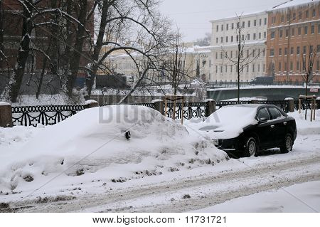 Uncleaned Street In Saint-petersburg