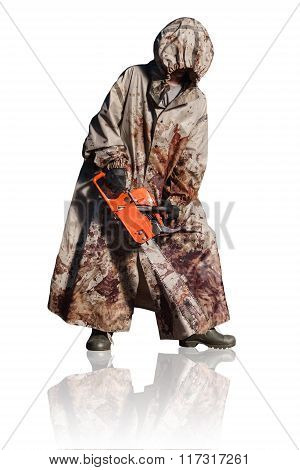 Maniac With The Chainsaw Dressed In A Dirty Bloody Raincoat