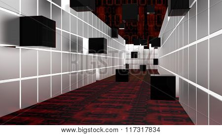 Hallway Witch Cubes Big Data Concept