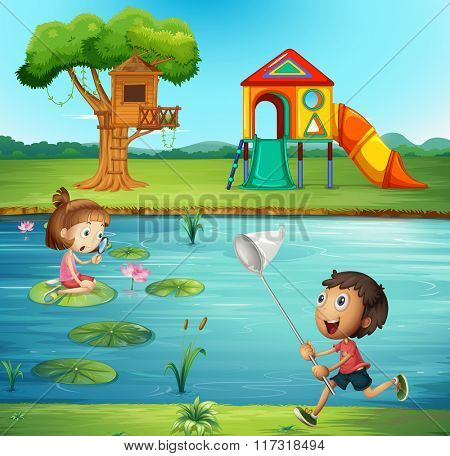 Boy and girl at the pond illustration