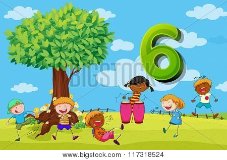 Flashcard number 6 with six children in the park illustration