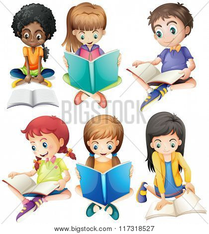 Boys and girls reading books illustration