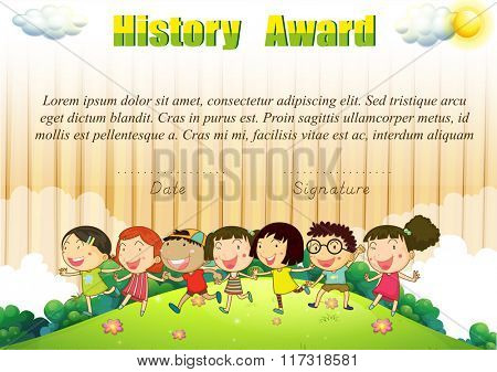 History award template with children in the park illustration