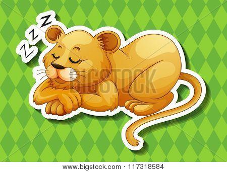 Lion cub sleeping alone illustration