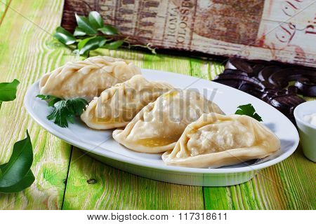 manti ravioli large dumplings plate with sour cream and dill Still, board, green, beautiful