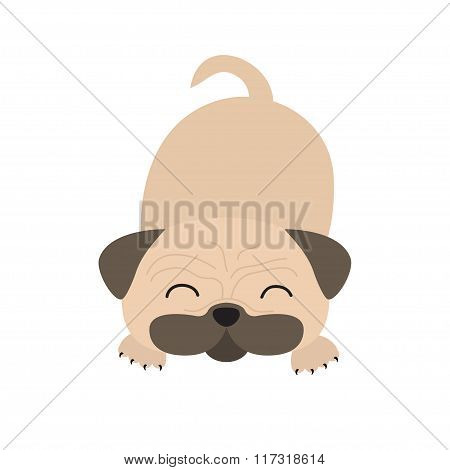 Pug Dog Mops. Cute Cartoon Character. Flat Design. Isolated. Wite Background.