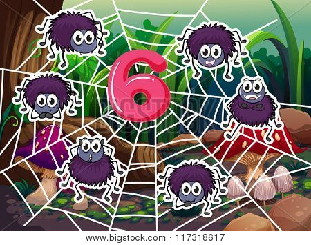 Six spiders on the web around number 6 illustration