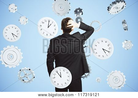 Deadline Concept With Businessman Thinking About Time