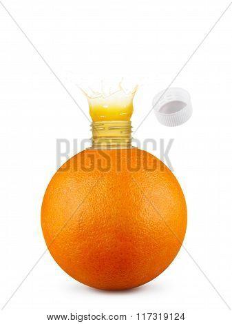Orange With Bottle Neck And Juice Splashes On White Background