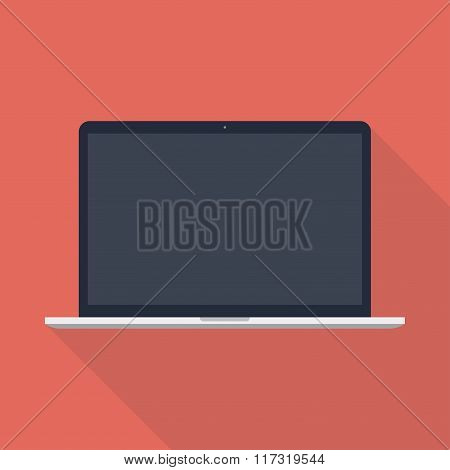 Laptop Icon In The Style Flat Design On The Red Background. Stock Vector Illustration Eps10
