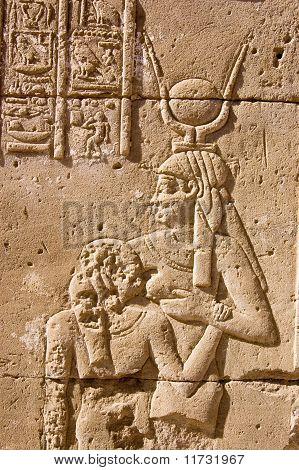 Hathor suckling Ancient Egyptian Pharaoh