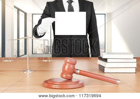 Gavel And Scales On The Wooden Table And A Man With An Empty Paper, Mock Up