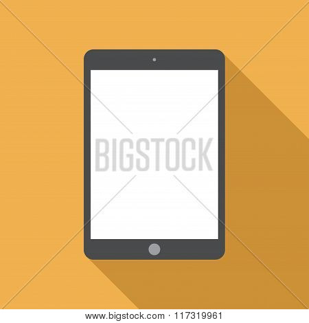 Tablet Icon In The Style Flat Design On The Yellow Background. Stock Vector Illustration Eps10