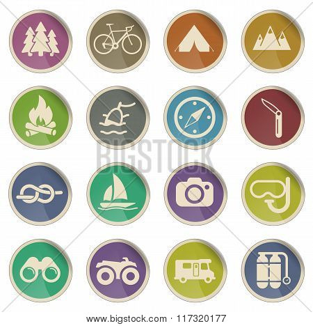 Active recreation icon set