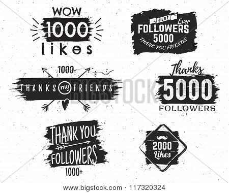 Set of vintage Thank you badges. Social media Followers labels and likes stickers. Handwriting lette
