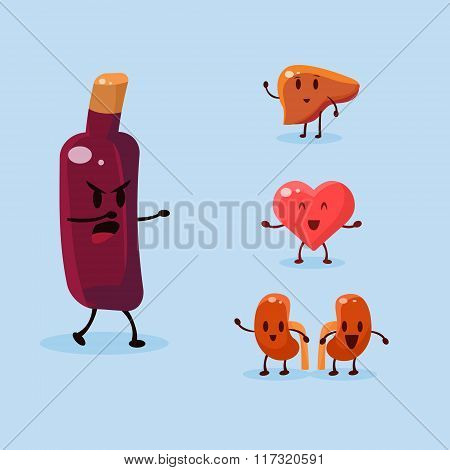 Wine Harm. Vector Illustration Set