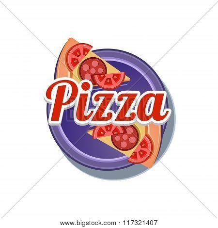 Pizza Sticker. Vector Illustration