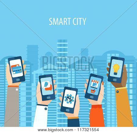 concept of hands holding smart-phones