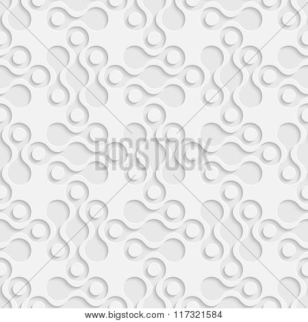Seamless Curved Shape Pattern. Vector Soft Background. Regular White Texture