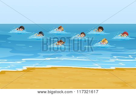 Boys and girls swimming in the ocean illustration