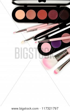 Makeup Brush Set With Palette Isolated On A White Background