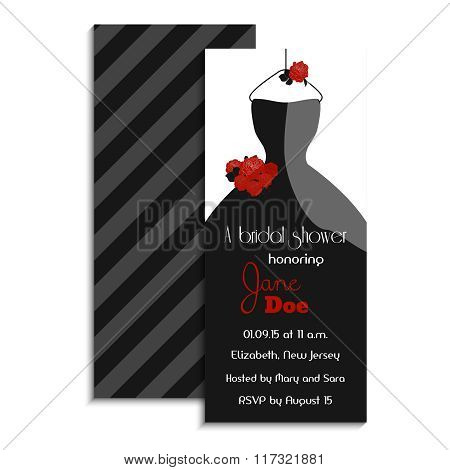 Bridal shower invitation card. Vector illustration. Classic design with wedding dress and roses. Par