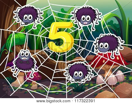 Five spiders around number 5 illustration