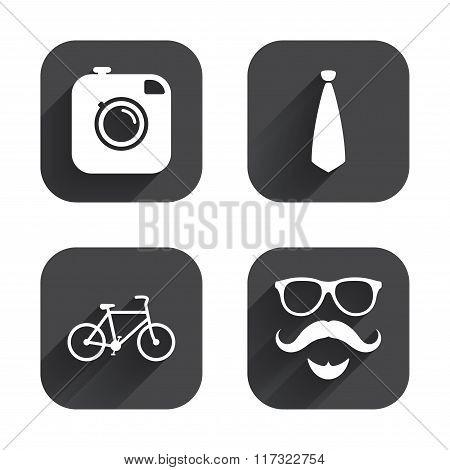 Hipster photo camera icon. Glasses symbol.