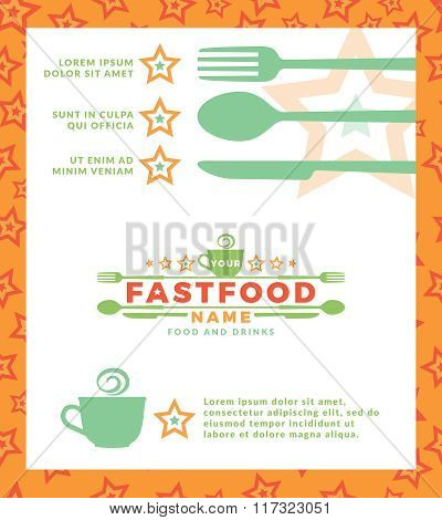 Menu with green logo with word Fast Food, design elements spoon and fork at a white background. Desi