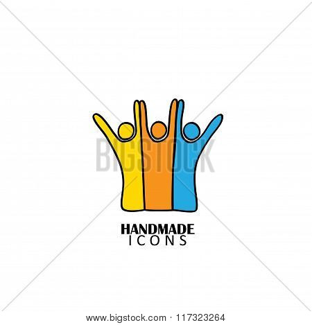 Hand Drawn People Icon Of Friendship Vector Graphic Logo