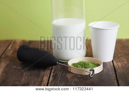 Milk Bottle, Froather, Matcha, Paper Glass On Green Back