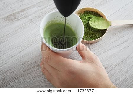 Matcha Latte Preparation Step Four