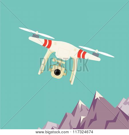 Remote Aerial Drone With A Camera Taking Photography Or Video Recording . Landscape Background. Flat