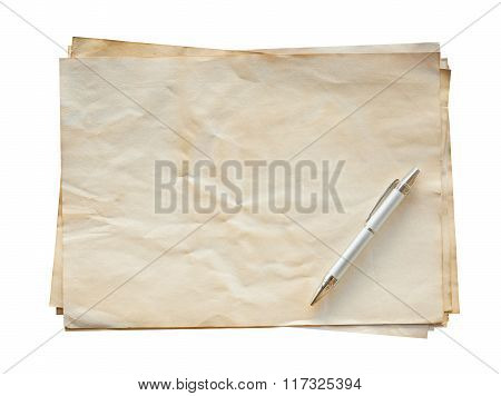 Old Paper And Pen On Isolated With Clipping Path.