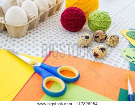 Close-up easter egg painting and decorating tools.
