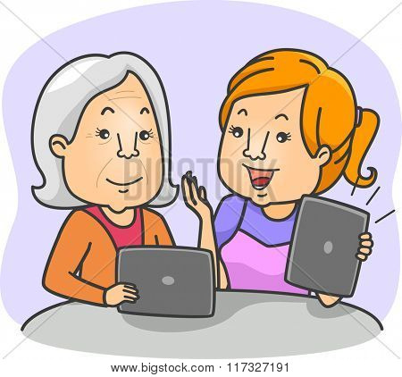Illustration of a Young Woman Teaching Her Grandmother How to Use a Tablet