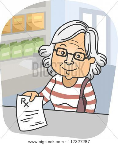 Illustration of an Elderly Woman Presenting a Prescription at a Pharmacy