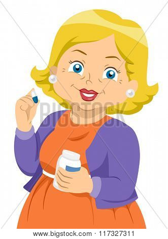 Illustration of an Elderly Female Holding a Pill